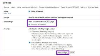Einstellungen für den Gmail-Offline-Modus