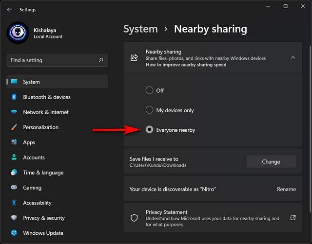Freigabe in der Nähe aktivieren unter Windows 11