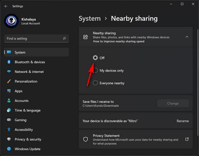 Deaktivieren Sie die Freigabe in der Nähe unter Windows 11