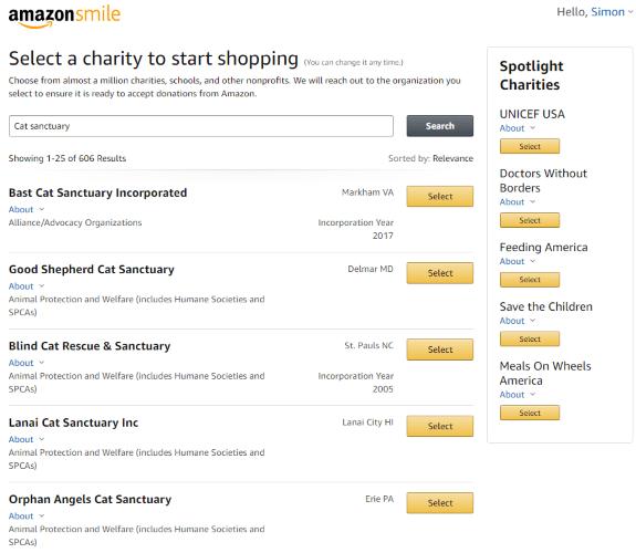 Amazon Smile Wohltätigkeitsorganisationen