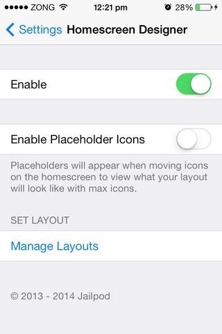 HomeScreenDesigner iOS-Einstellungen