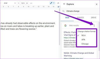 Zitationsformat in Google Docs ändern