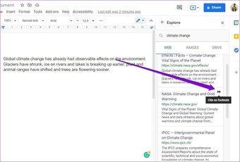 Hinzufügen von Zitaten mit dem Explore-Tool in Google Docs