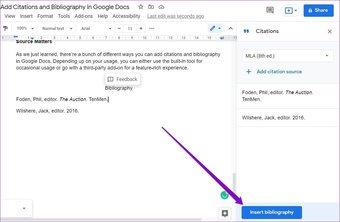 Bibliographie in Google Docs einfügen