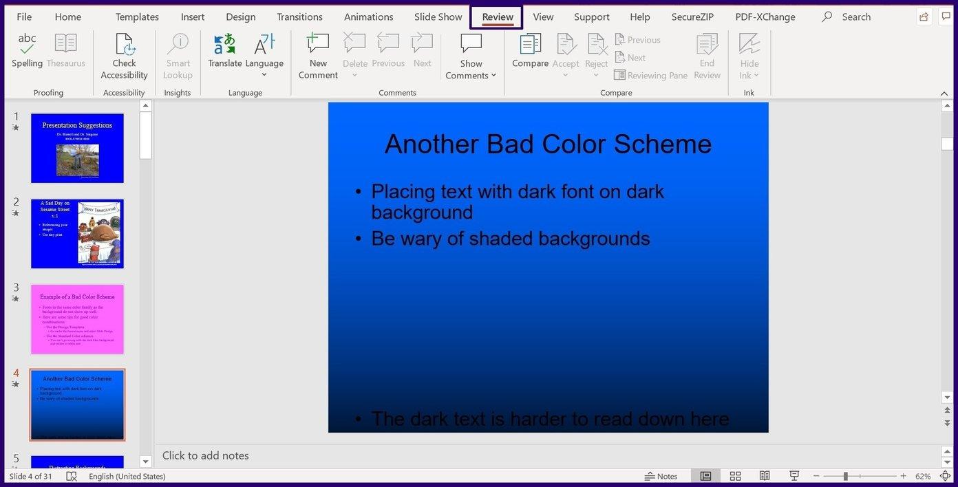 Verfolgen Sie Änderungen in Microsoft Powerpoint Schritt 2