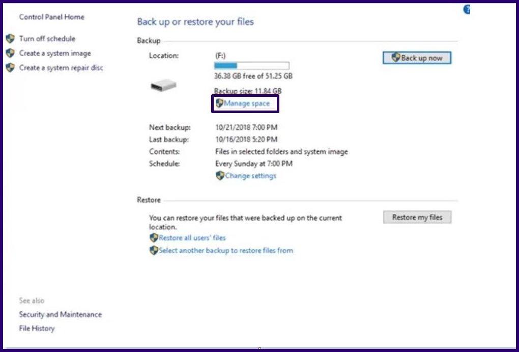 Löschen Sie alte Sicherungsdateien Windows 10 Schritt 15