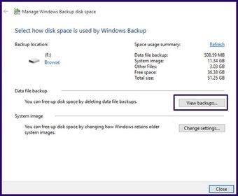 Löschen Sie alte Sicherungsdateien Windows 10 Schritt 16