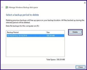 Löschen Sie alte Sicherungsdateien Windows 10 Schritt 17