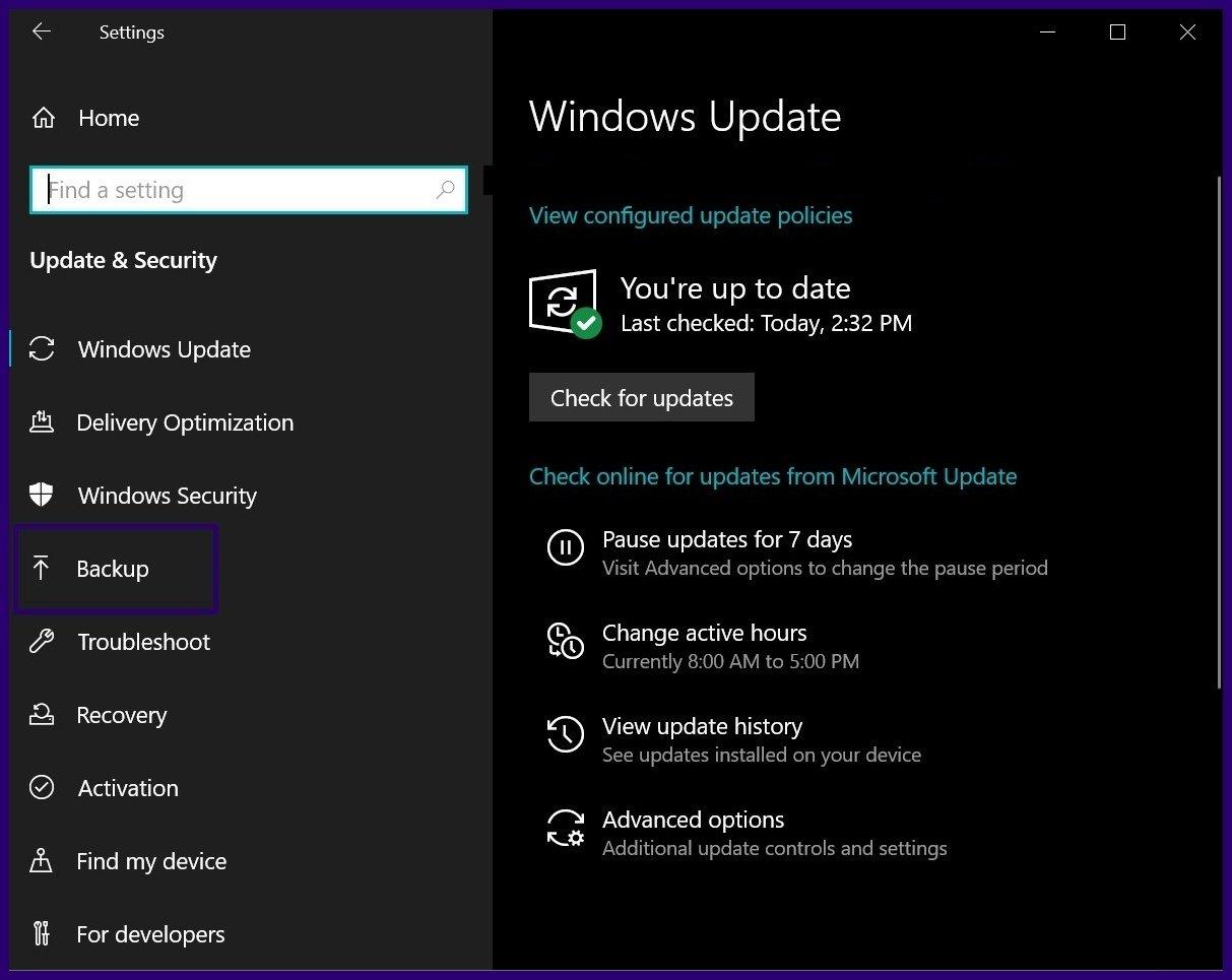 Löschen Sie alte Sicherungsdateien Windows 10 Schritt 5