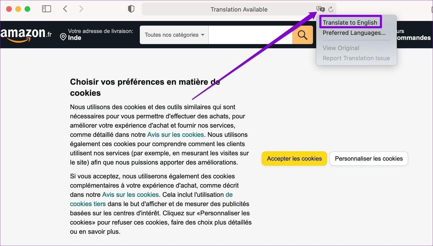 Webseite in Safari Mac übersetzen