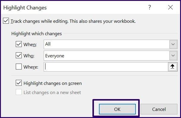 Verfolgen Sie Änderungen in Microsoft Excel Schritt 21