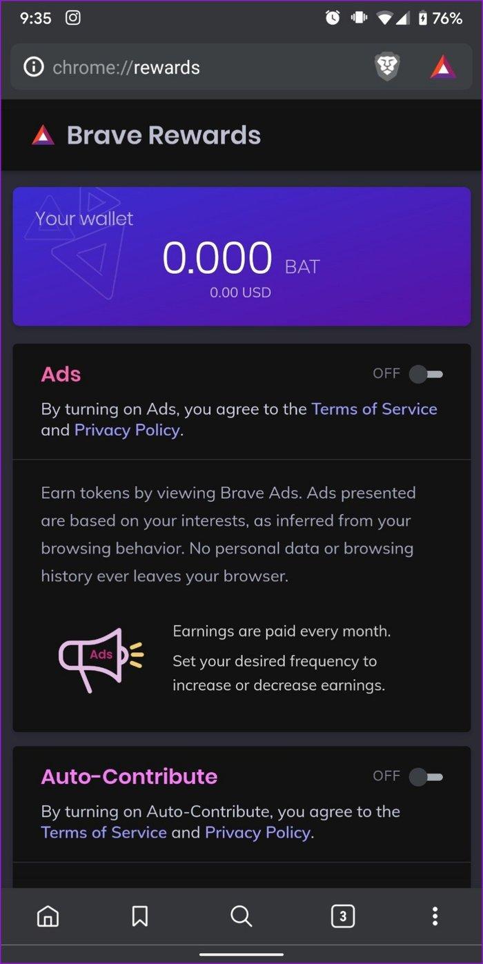 Belohnungen im Brave Browser