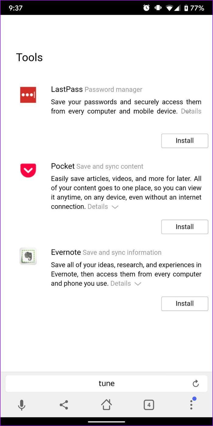 Yandex-Browsererweiterungen