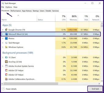 Schließen Sie eingefrorene Apps unter Windows 10 Schritt 4
