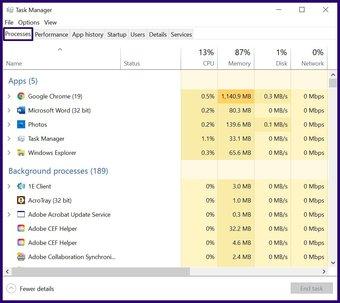 Schließen Sie eingefrorene Apps unter Windows 10 Schritt 3