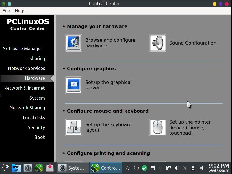 Pclinuxos-Systemeinstellungen