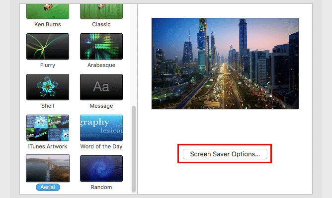 Antennen-Bildschirmschoner-Optionen