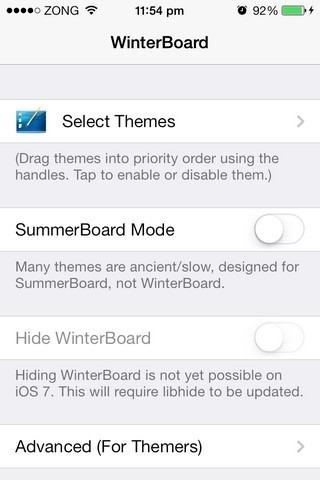 WinterBoard iOS 7-Einstellungen
