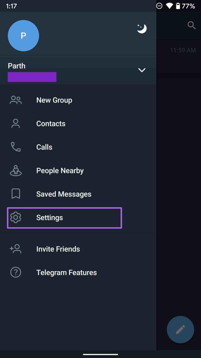 Telegrammeinstellungen auf Android öffnen