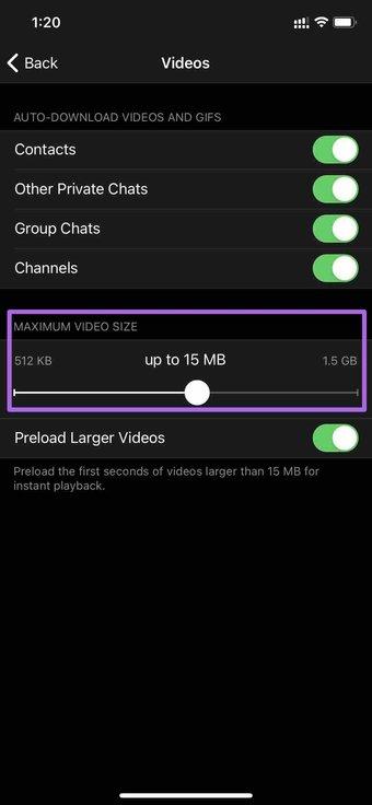 Maximale Video-Download-Größe
