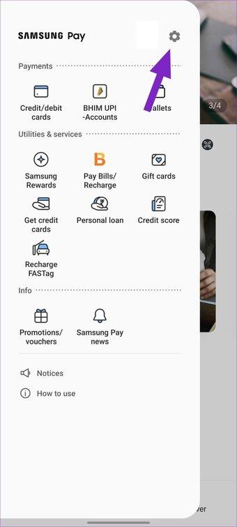 Einstellungen in Samsung Pay auswählen