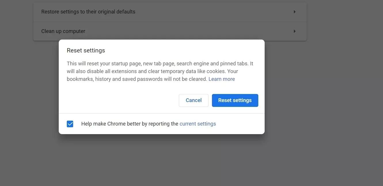 Chrome-Einstellungen zurücksetzen