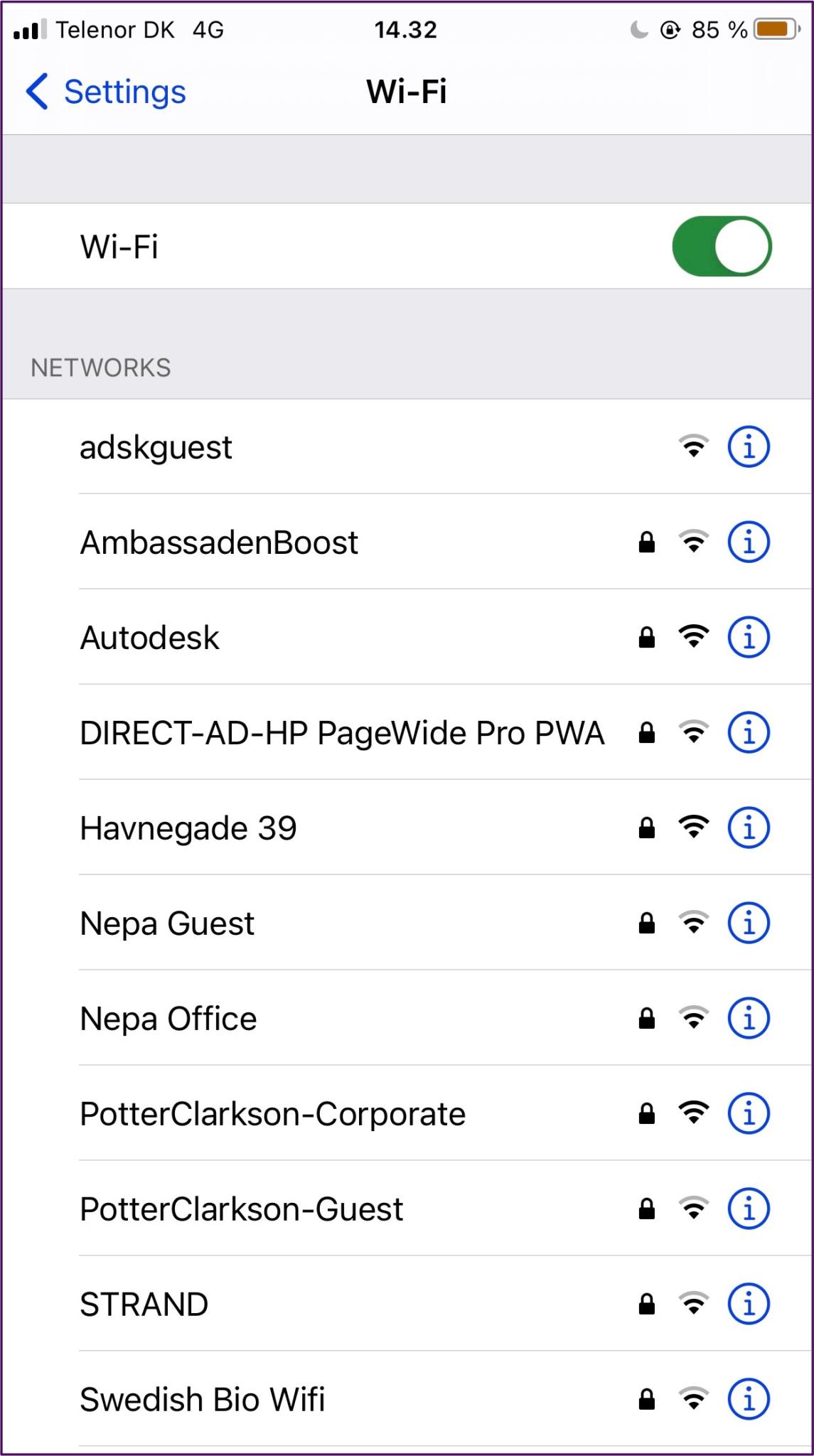 Iphone WLAN-Liste der Netzwerke