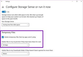 Konfigurieren von Storage Sense