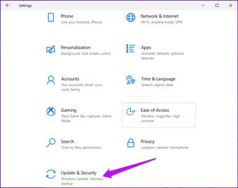 Update und Sicherheit der Windows-Einstellungen