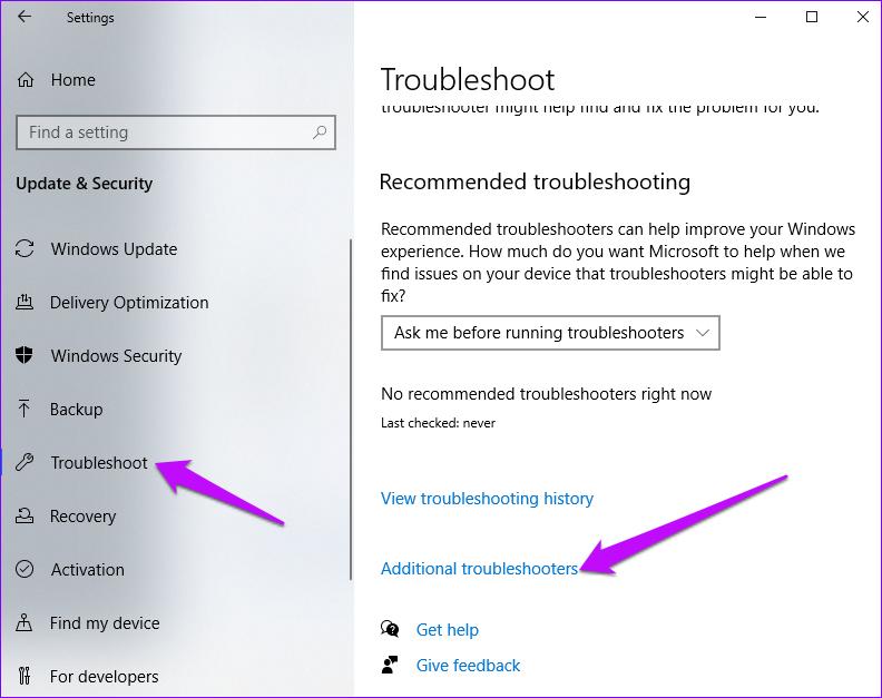 Windows-Einstellungen Zusätzliche Fehlerbehebung