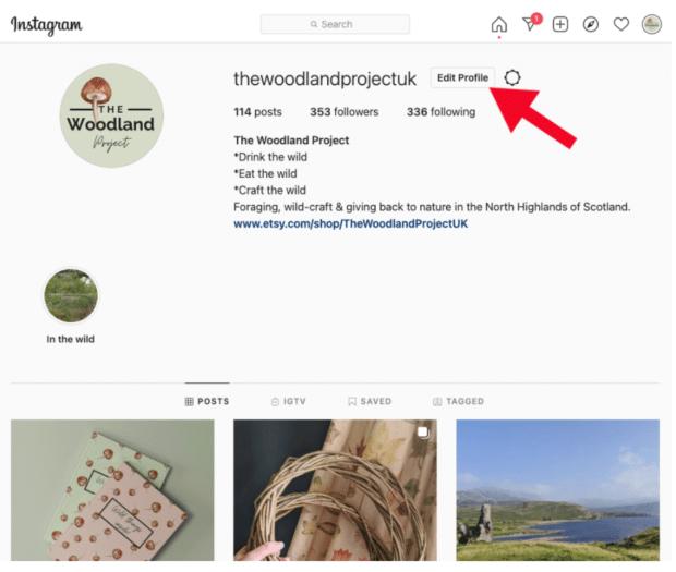 Profil auf Instagram bearbeiten