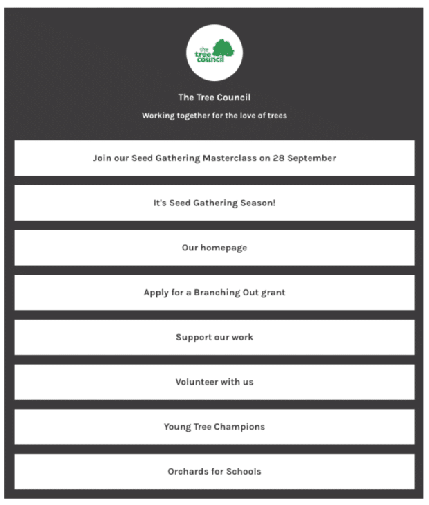 Die Landingpage des Tree Council mit mehreren Links
