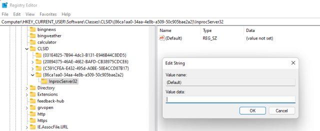 Wiederherstellen des alten Kontextmenüs unter Windows 11 (manuelle Methode)