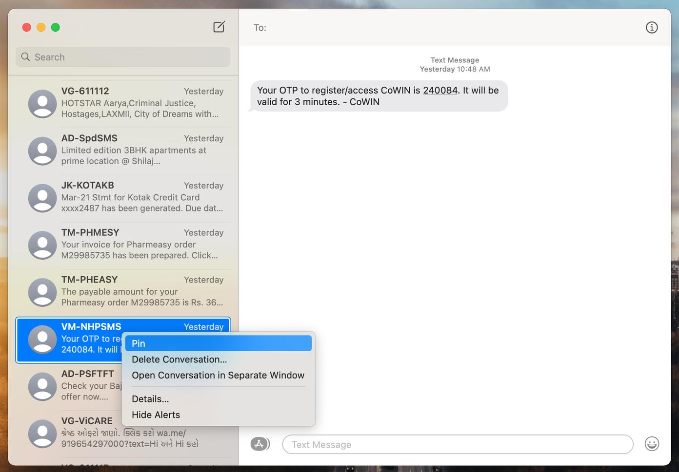 Pin-Nachrichten auf dem Mac